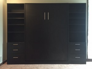 Black Melamine Wallbed w/Towers