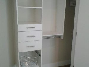 White Reach IN w/Drawers & Basket