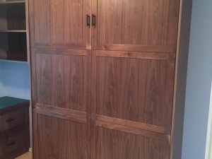 Six Panel Real Walnut Murphy Bed